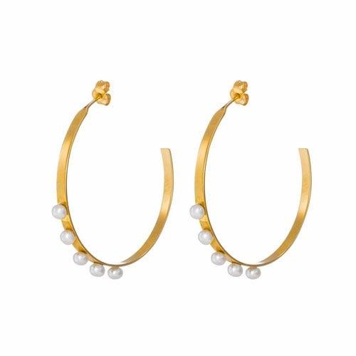 Dutch Basics Pearl Hoop Earrings - Gold Plated