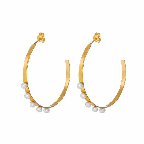 Pearl Hoop Earrings - Gold Plated