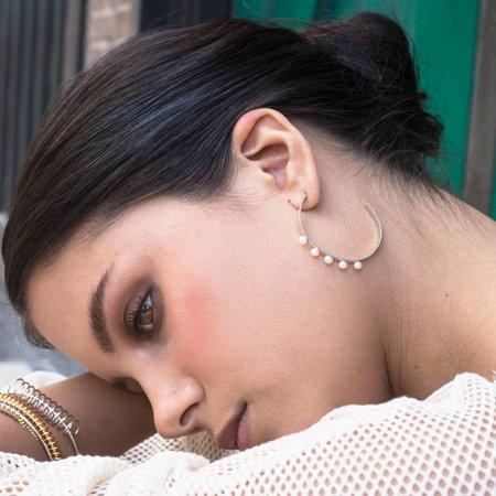 Dutch Basics Silver Pearl Hoop Earrings