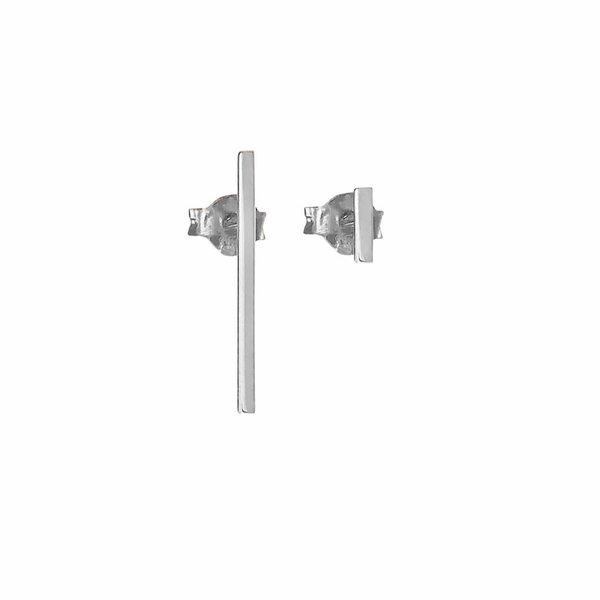 Thin Bar Earrings - Silver