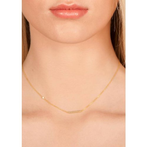 Dutch Basics Cylinder Bar Necklace - Gold-Plated