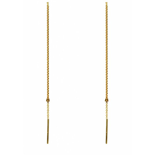 Cylinder Drop Chain Earrings - Gold Plated