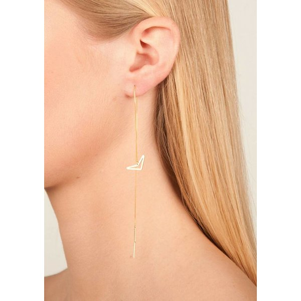Triangle Drop Chain Earrings - Gold Plated