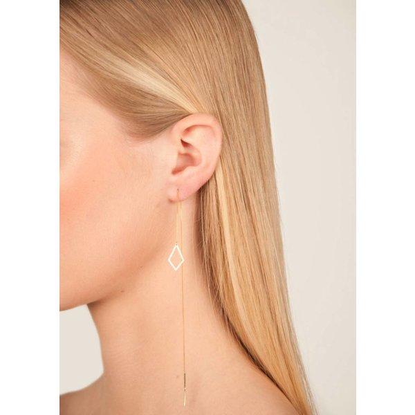 Diamond Shaped Drop Chain Earrings Gold Plated