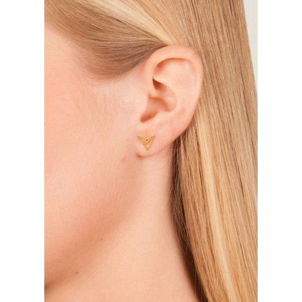 Triangle Stud Earrings 'HEF' - Gold Plated