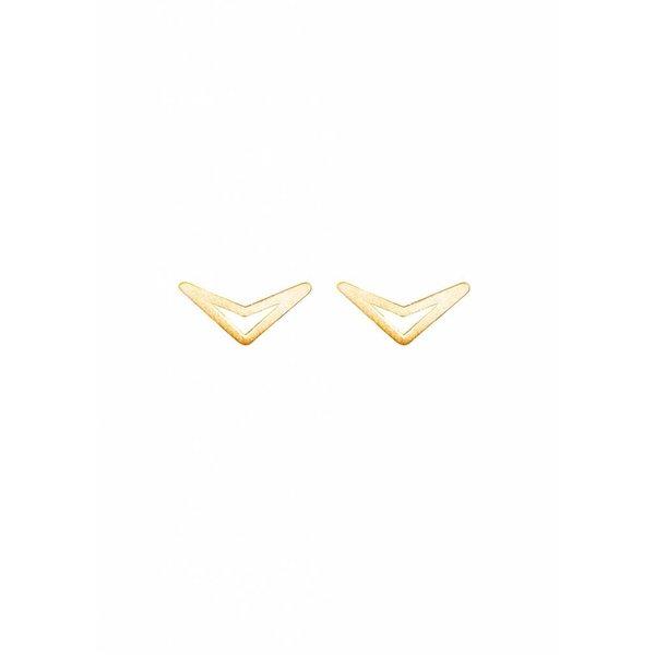 Triangle Stud Earrings 'TUI' - Gold Plated