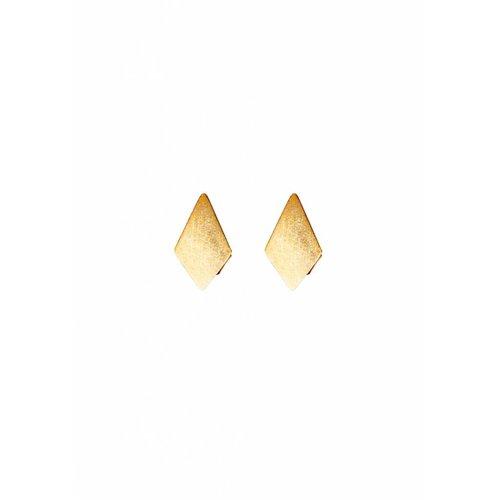 Dutch Basics Diamond Stud Earrings 'RUIT' - Gold Plated