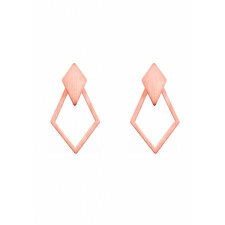 Dutch Basics Detachable Earrings 'Ruit' - Rose-Plated