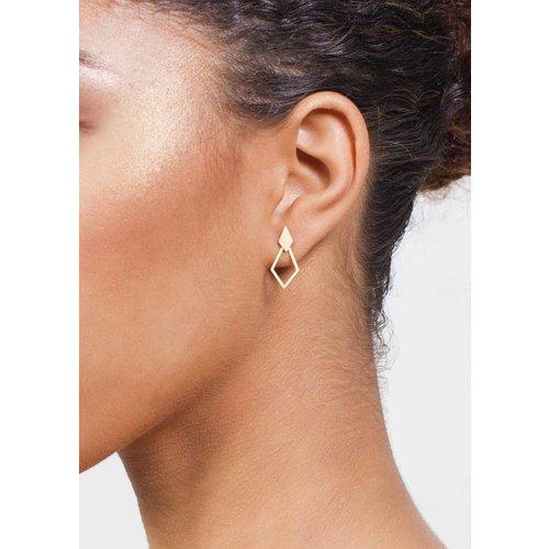 Dutch Basics Detachable Earrings 'Ruit' - Gold-Plated