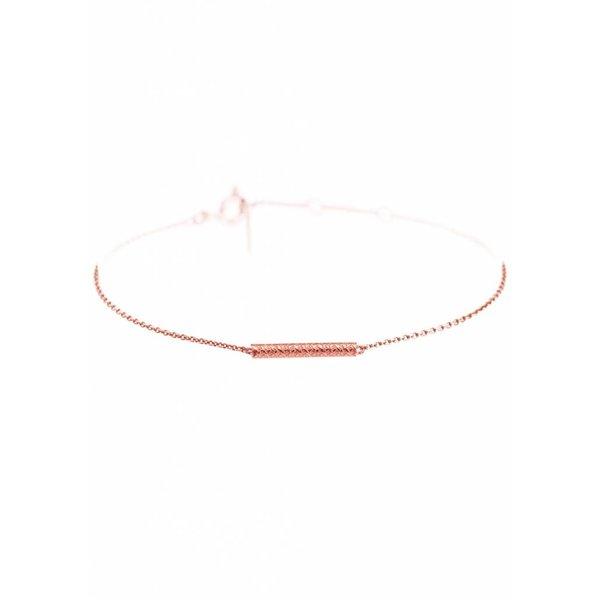 Cylinder Bar Bracelet - Rose - Plated