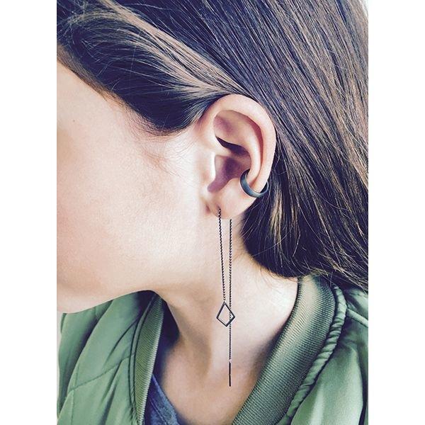Oxidized Silver Drop Chain Earring