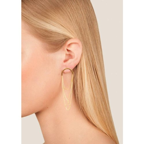 Dutch Basics Curved Arch Earrings -Gold Plated