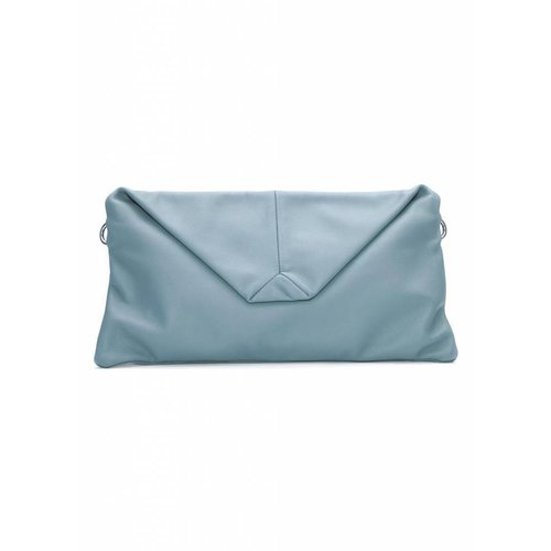 Dutch Basics Envelope Leather Clutch - Blue