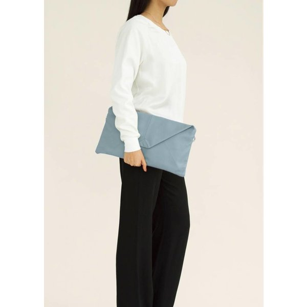 Envelope Leather Clutch - Blue