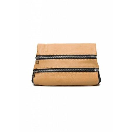 Dutch Basics Leather Zipper Clutch - Nude