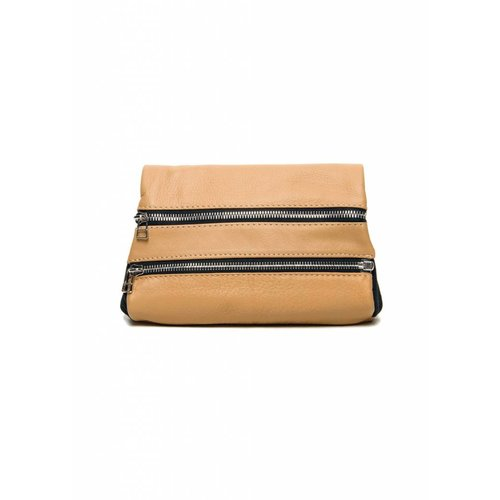 Dutch Basics Leather Zipper Clutch - Nude