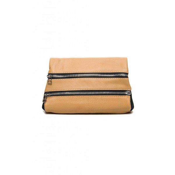 Leather Zipper Clutch - Nude