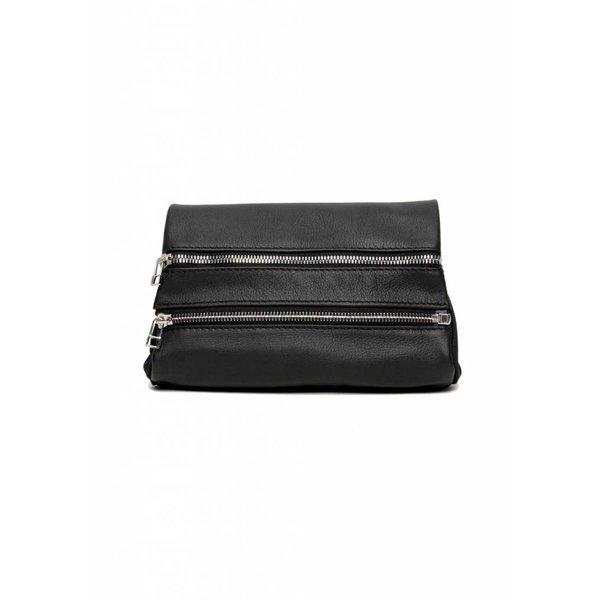 Leather Zipper Clutch - Black