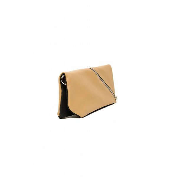 Diagonal Leather Clutch - Nude