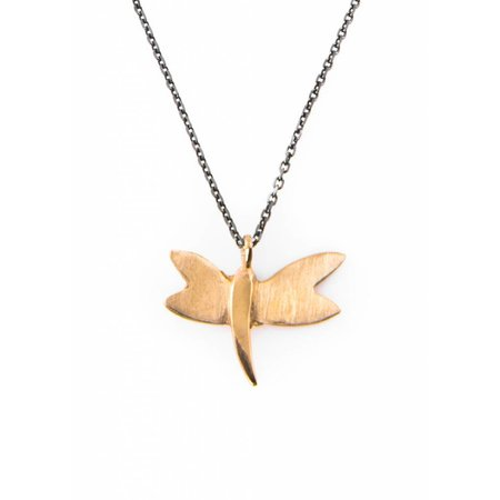 Dutch Basics Dragonfly Necklace - Oxidised and Gold