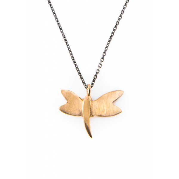 Dragonfly Necklace - Oxidised and Gold