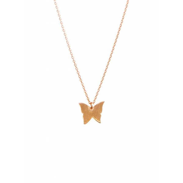 Rose Plated Butterfly Necklace
