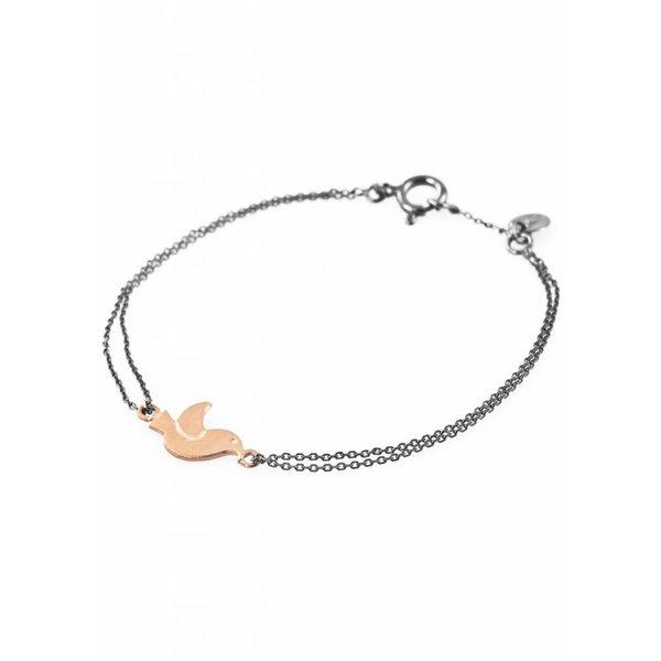 Bird Bracelet - Oxidised and Gold