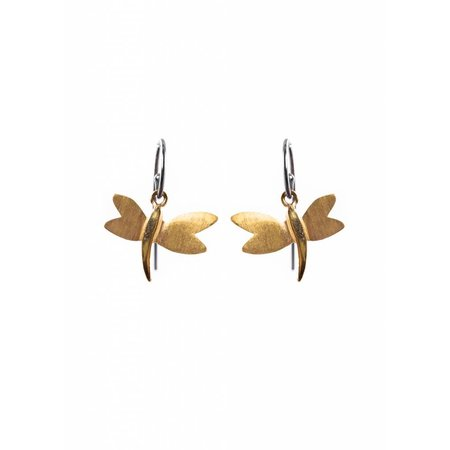 Dutch Basics Dragonfly Earrings - Oxidised and Gold