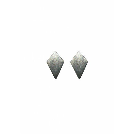 Dutch Basics Diamond Shaped Stud Earrings 'RUIT' - Oxidized