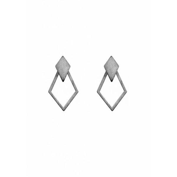 Detachable Earrings 'Ruit' - Oxidized Silver