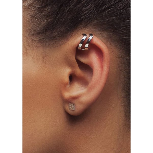 Silver Double Point Ear Cuff