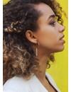 Silver Hoop Earrings With Patterned Bar Pendant