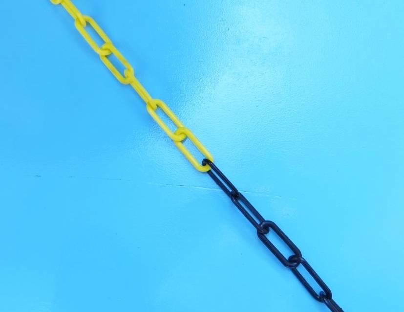 Kunststof ketting, zwart/geel, 6mm, per 25 meter bos.