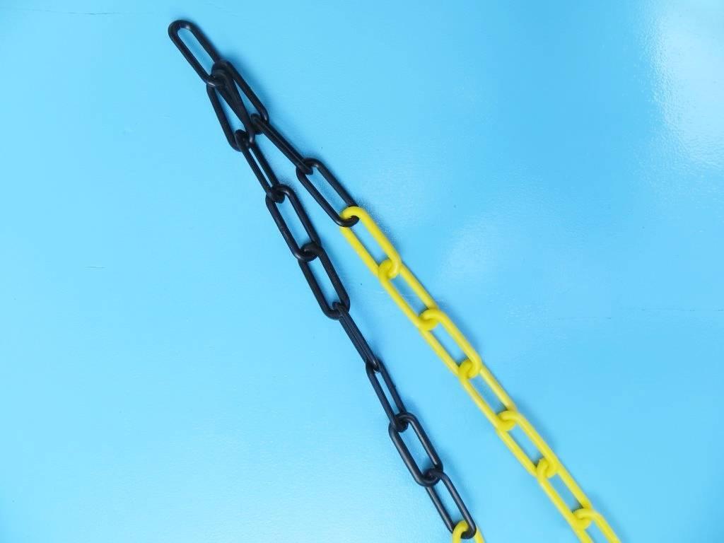 Kunststof ketting, zwart/geel, 6mm, per 30 meter bos.