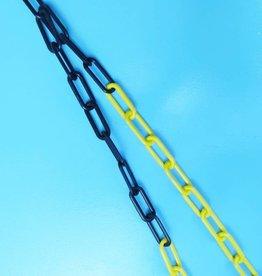 Kunststof ketting, zwart/geel, 6mm, 25 mtr.