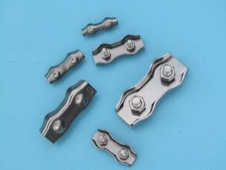 Rvs duplex draadklem AISI-316, voor kabeldiameter 2 mm t/m. 8 mm