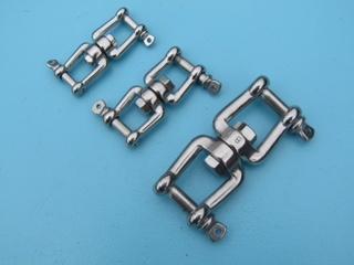 Rvs wartel gaffel-gaffel AISI-316, diameter 6 mm t/m 10 mm