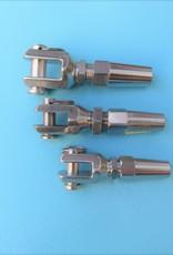 Rvs Doe het zelf terminal met gaffel AISI-316, voor kabel 4, 5, 6 en 8mm