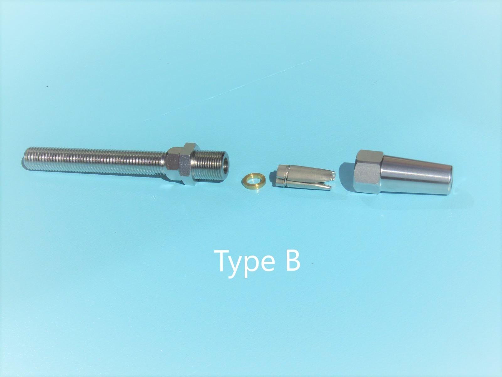 Rvs Doe het zelf terminal met schroefdraad AISI-316, voor kabel 4, 5, 6 en 8mm