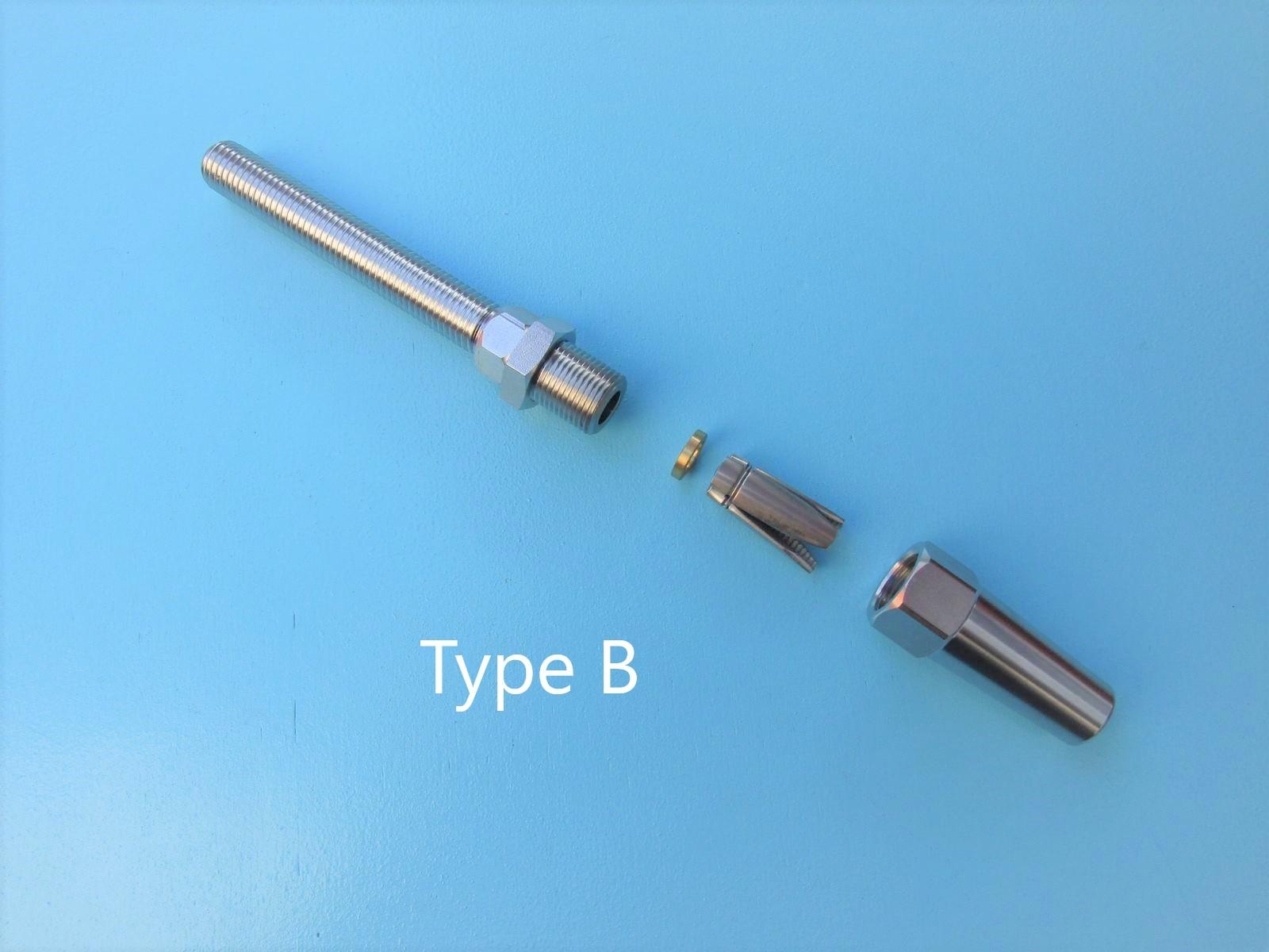 Rvs Doe het zelf terminal met spanner AISI-316, voor kabel 4, 5, 6, en 8mm