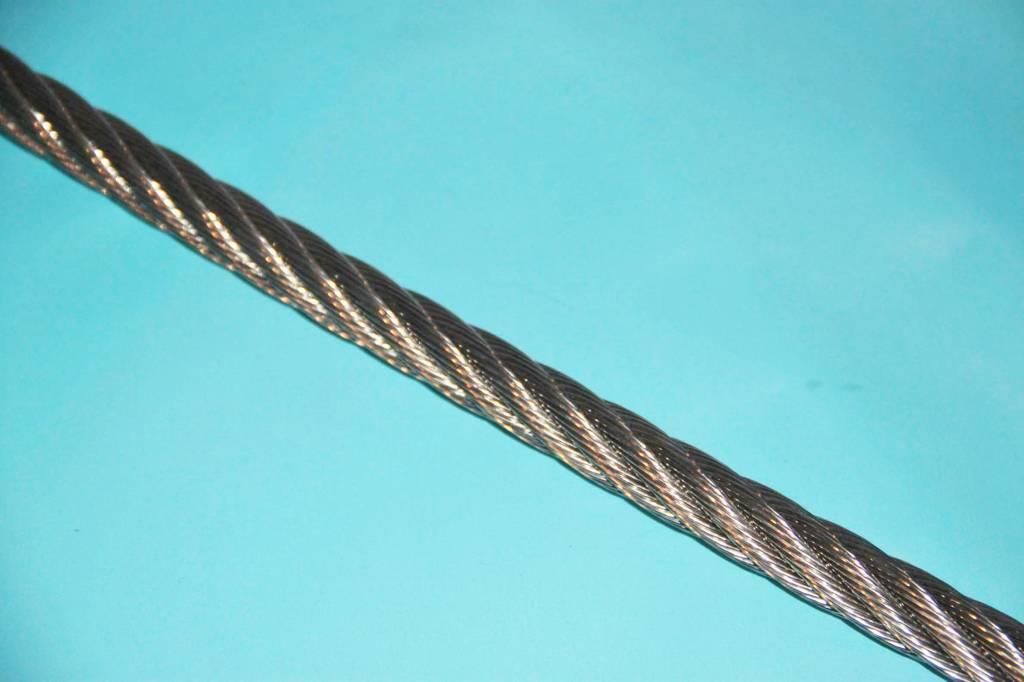 Rvs Staalkabel 7x7 AISI-316 per meter 0,63mm t/m 8mm