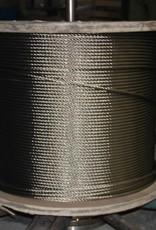 Rvs Staalkabel WS 6x36+stalen kern AISI-316, 1000 meter op haspel 8mm t/m 26mm