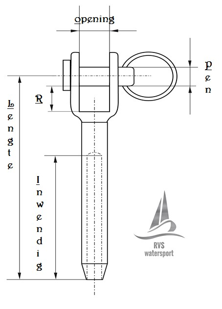Rvs Gaffelterminal AISI-316, voor staalkabel 3mm t/m 12mm