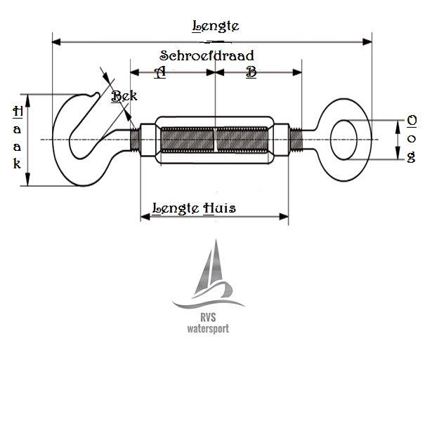 Rvs Spanschroef haak-oog AISI-316, M5 t/m M16