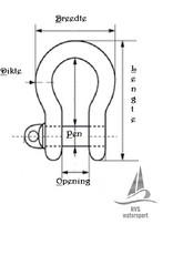 Rvs harpsluiting met borstbout  AISI-316, diameter 4 mm t/m 25 mm