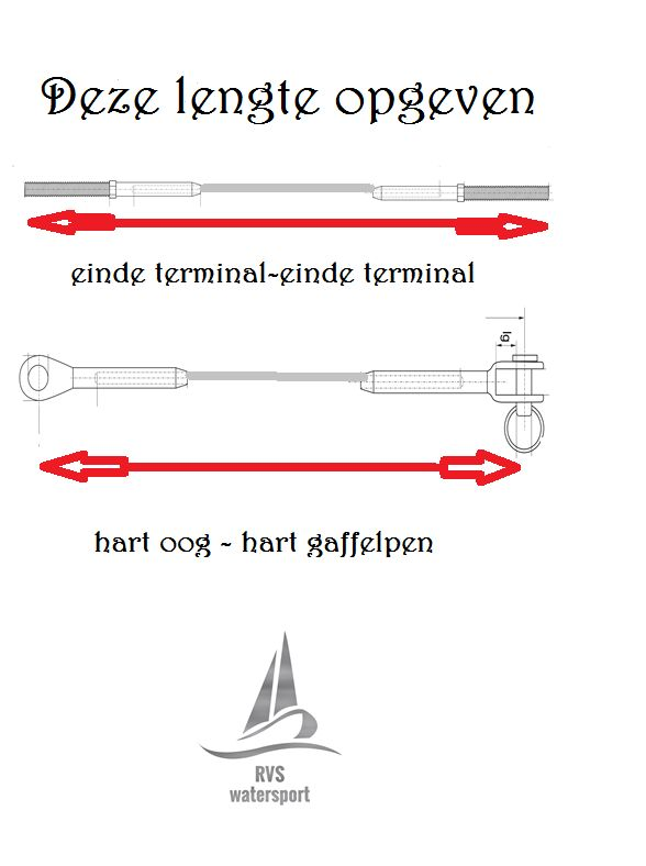 Verstaging 5mm 1x19 staalkabel rvs AISI-316 aangewalst