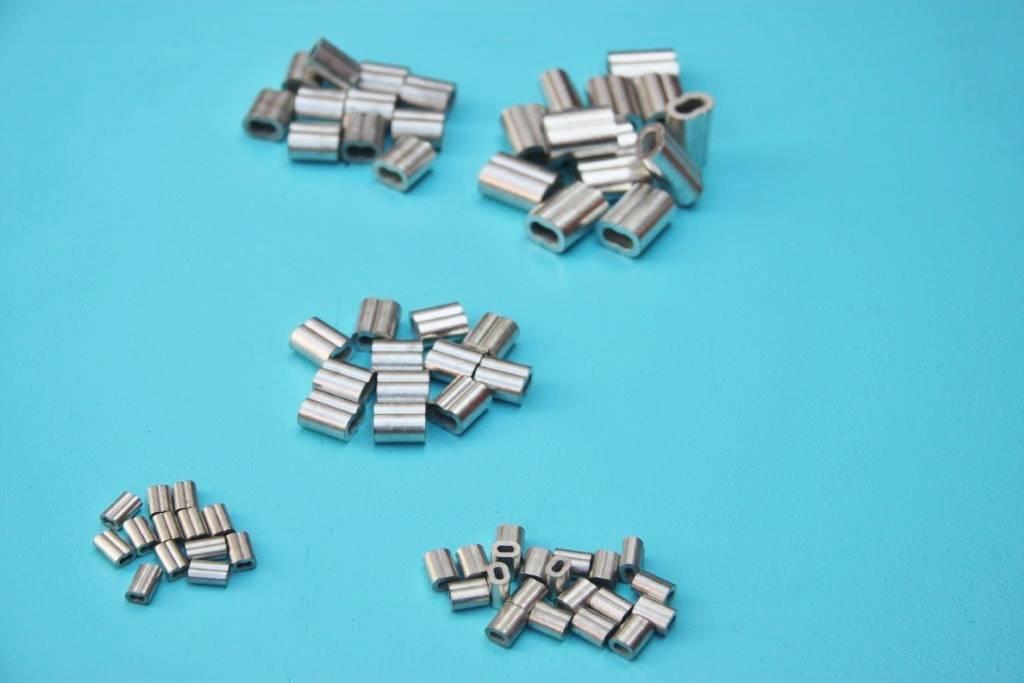 Persklem Tin / koperen 8-vormige  voor Rvs kabel, 0,8 mm t/m 8 mm