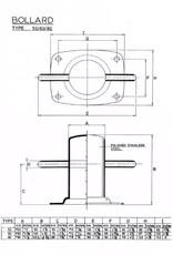 Rvs bolder met voetplaat AISI-304