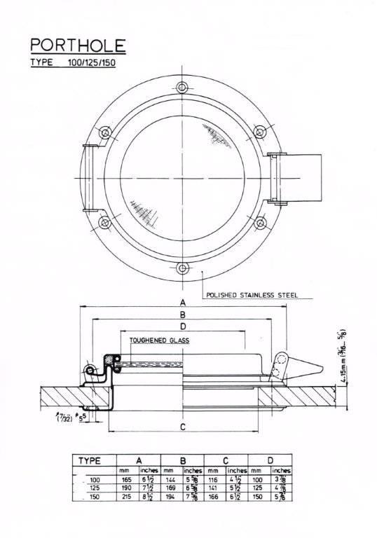 Rvs Patrijspoort open AISI-304