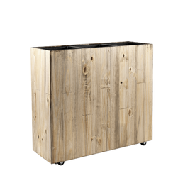 Fleur.nl - Marrone Wood Box Wheels 3-delig  (+ inzetbak)